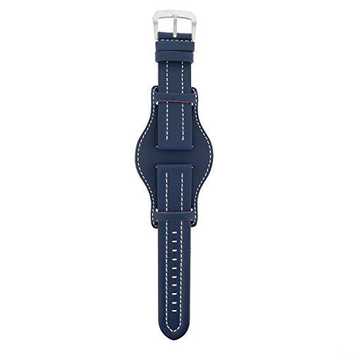 DETOMASO echtes italienisches blaues Lederarmband mit weißer Naht und silberner Dornschließe 24mm