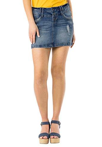 Sublevel Damen Jeans Mini-Rock mit Knöpfen im Used Look Middle-Blue S