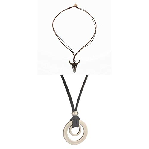 joyMerit 2X Cabeza de Buey Artificial Colgante Trenza Cuerda Collar Cadena Círculo Joyería Regalos