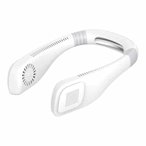 SKJGHHE Ventilador de Cuello sin brocha, 360 Grados de enfriamiento de Manos, Ventilador Deportivo, USB Mini, Ventilador Personal, diseño de Auriculares refrigerador de Aire (Color : White)