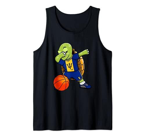 Dabbing Turtle Barbados Jersey Barbados Baloncesto Fans Art Camiseta sin Mangas