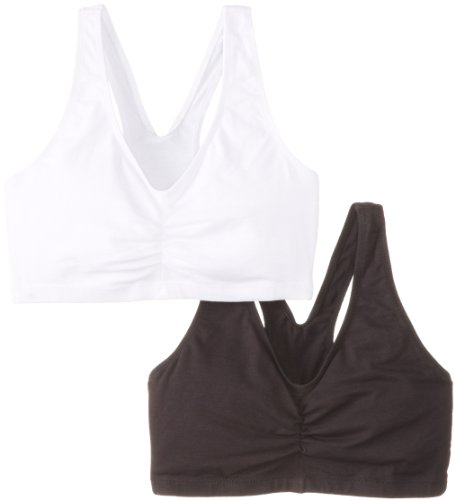 Hanes Women's Stretch Cotton Low Imact Sports Bras - 2 Pack, White/Black, Large