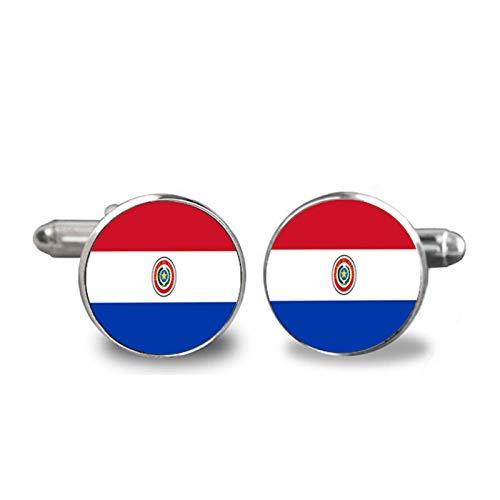 Gemelos con diseño de mapa del mundo de Paraguay, para hombre, personalizados, accesorios de joyería para bodas