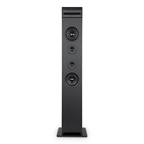 AUNA Karaboom CD - Tour karaoké, Aux-In, Line-In, USB, Lecteur CD, Lecteur de cartes SD, 65 watts de puissance, Réglage séparé du micro, Bluetooth, Tuner FM, Ecran LED, Fonction de charge USB - Noir
