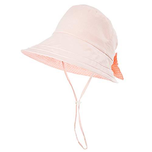 Comhats Leinen/Baumwolle Damen rosa Sonnenhüte Sonnen Shade mit Kinnriemen Faltbare Fischerhüte SPF 50 + breite Krempe