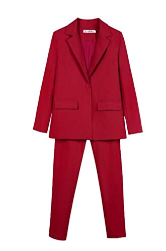 HKRT Traje de trabajo de 2 piezas para mujeres de entrevista de negocios conjunto de uniforme y lápiz pantalones de oficina traje de dama Rojo rosso L