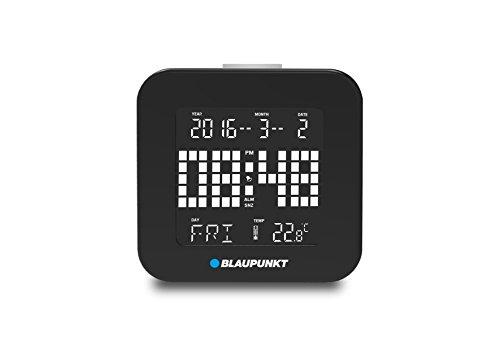 Blaupunkt CL 20 BK Multifunktionswecker (Alarm und Snooze, Datum, Wochenanzeige, Temperaturanzeige, LED Hintergrundbeleuchtung) schwarz, 8 x 8 x 1