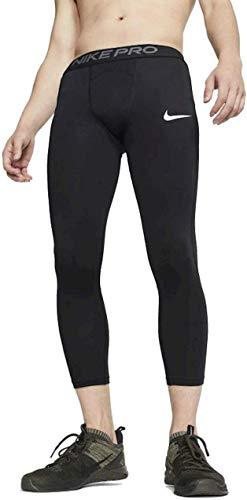 Nike PRO Pantacollant 3/4, Nero (Black/White), M Uomo