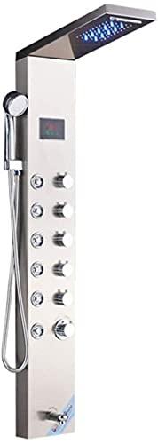 OUWTE Sistema de Ducha Panel de Ducha con luz LED Cascada Juego de grifos de Ducha de Lluvia SPA Masaje Chorro de Agua Columna de Ducha Mezclador de Ducha Torre del Grifo, Negro 8004