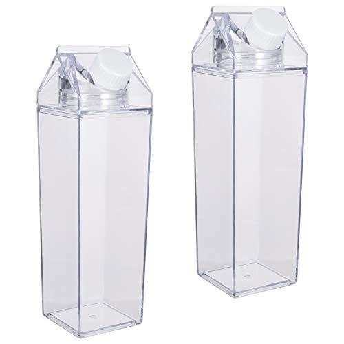 metagio 2 Stück Klare Wasserflasche Transparente 500ML Plastikmilchbox Milchkarton Wasserflasche Getränk Eistee Flasche Milchflaschen für Getränke Getränkesaft