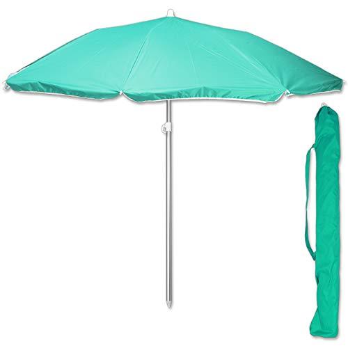 TW24 Sonnenschirm 175 cm mit Farbwahl Strandschirm UV 50+ Sonnenschutz Gartenschirm verstellbar Schirm (Grün)