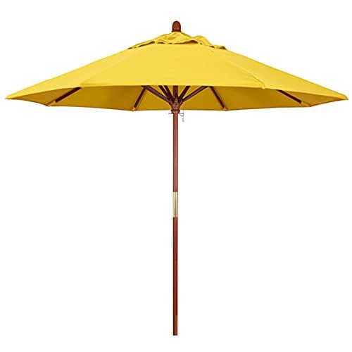 HWF sombrilla Jardin Paraguas de Mercado Madera 2.1m / 2.7m Amarillo - Jardín/Piscina/Sombrilla de Playa con Poste de Madera y 8 Varillas, Sombrilla para Mesa de Patio al Aire Libre Sunbrella
