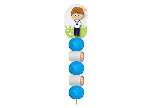 Lote de 30 Brochetas de Golosinas Cartón'Niño Comunión' Juguetes y Regalos Baratos para Fiestas de Cumpleaños, Bodas, Bautizos, Comuniones y Eventos.