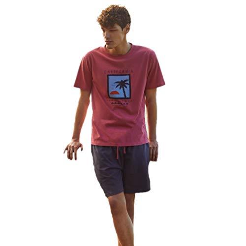 PROMISE Pijama de Verano para Hombre H32032 - Rojo, M