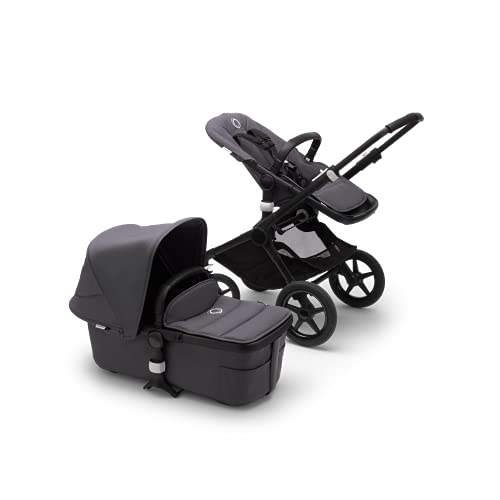 Bugaboo Fox 2, Foldable 3 in 1 pram and Pushchair with Reversible seat and extendable Handlebar, Durable Lightweight Stroller with Steel Blue Sun Canopy and Black Chassis
