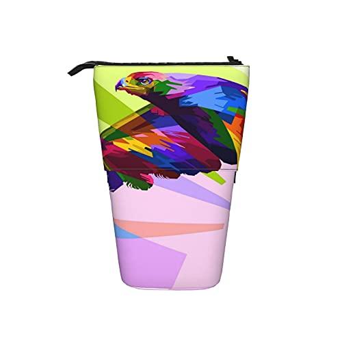 Estuche de lápices colorido búho telescópico estuche de pie con cremallera portátil bolsa de cosméticos bolsa de maquillaje para mujeres