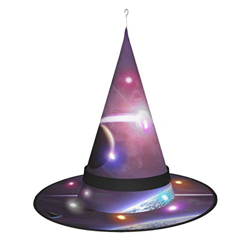 leyhjai Planeta Estrella Luna Nave Espacial Colgante Iluminado Brillante Bruja Sombreros Accesorio de Disfraz de Halloween para Fiesta de Halloween Masq