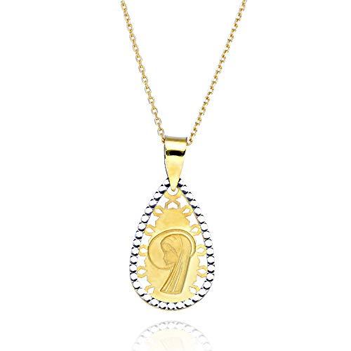 doble aro - Medalla Virgen Niña en Oro 18Kt - Colgante para Niña de Comunión con Cadena Incluida