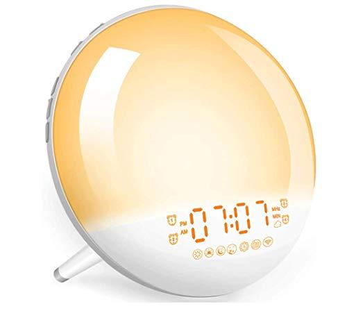 Sunrise Alarm Clock Wake-Up Light - Natural Light Alarm Clocks,with FM Radio,Sunrise/Sunset Simulation,Snooze,Sleep Aid,Nightlight,USB Charger,4 Alarms,7 Sounds.20 Brightness,for Kids,Heavy Sleepers