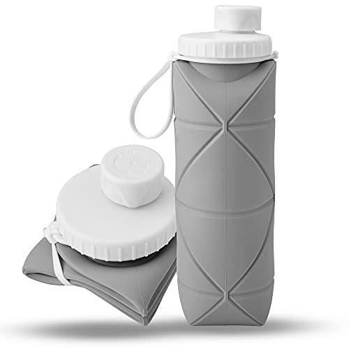 Eamplest Borraccia Pieghevole in Silicone,600ML Bottiglia d'Acqua di Silicone Pieghevole,BPA Free,Prova di Perdite,Bottiglia Flessibile Riutilizzabile l'acqua per Sport e Uscite all'Aperto