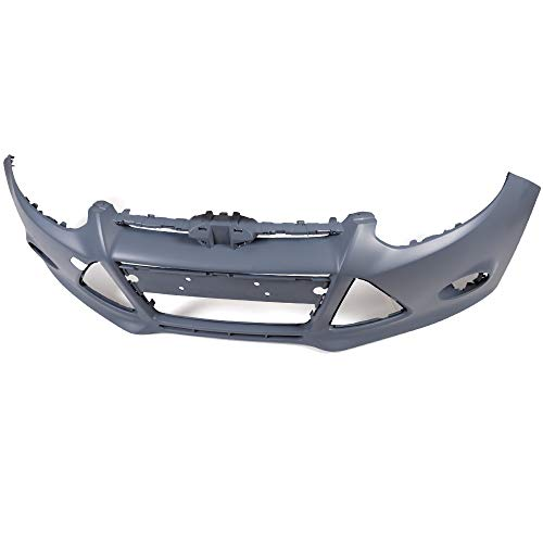 New Front Bumper Cover Compatible for Ford Focus Sedan/Hatchback 2012 2013 2014 12 13 14, Primed & Ready for Paint, FO1000664