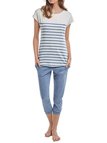 Marc O´Polo Body&Beach Damen Schlafanzughose W-Loungeset Crew-Neck, Mehrfarbig (Grey/Blue), 44 (Herstellergröße XXL)