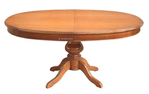 Table à manger ovale prolongeable en bois style Louis Philippe cm 160x110 avec deux allonges 45 cm chacune, très solide et fiable avec pied central, finition personnalisable. 100% fabriqué en Italie.