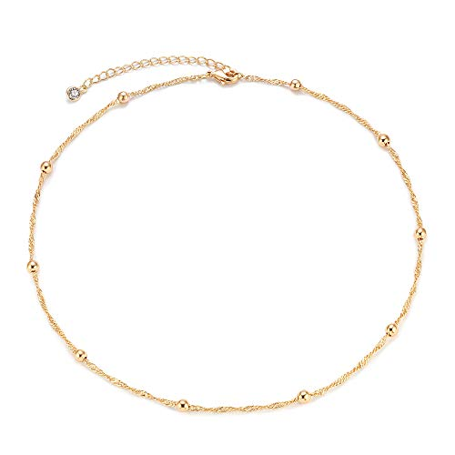 Mevecco Gold Bead Plain Chain Choker Necklace,14K Gold Plated Dainty Cute Tiny Bead Charm Wave Chain Minimalist Simple Choker Necklace for Women and Girls