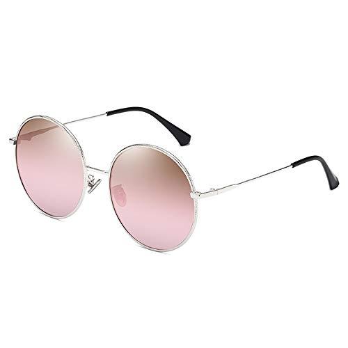 WOXING Grande Metal Gafas De Sol,Mujere Moda Carrera Vintage Circular Gafas,Retro Protección UV Antideslumbrantes Gafas,Conducir Pesca-E 14.5x6cm(6x2inch)