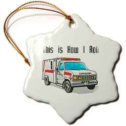 3dRose orn_102561_1 This How I Roll Ambulance EMT Design Snowflake Porcelain Ornament, 3-Inch