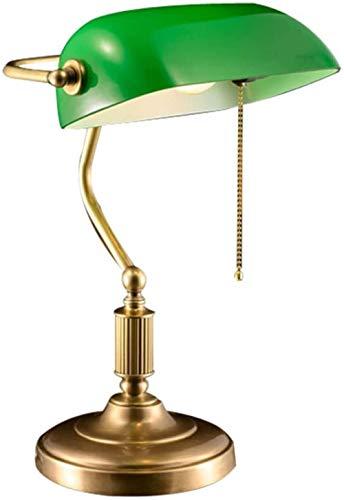 Lámpara de escritorio de banquero ejecutivo de diseño simple con sombras de vidrio Lámpara de escritorio de cobre antiguo Lámpara simple LED