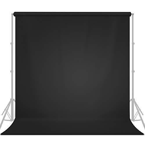 LimoStudio 10' x 20' (W x H) Photo Video Studio Seamless Solid Dark Black Screen Muslin Backdrop Photo Studio Background, AGG1601