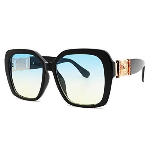 FENGHUAN Gafas de sol transparentes con montura grande Retro para mujer, conpersonalidad delujo,decoración de cabeza humana de metal, gafas de sol para hombres, tonos azules