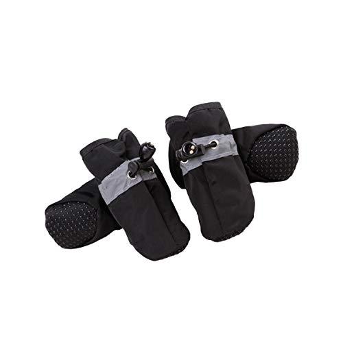 Hundeschuhe, rutschfest, verstellbar, atmungsaktiv, 4 Stück (schwarz)