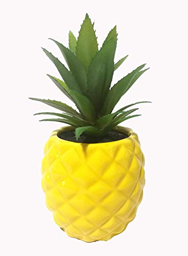 Pretty Home Porcelain Potted Artificial Succulent 7.8' Faux Plants Pineapple Ananas (Yellow) Home Room office Tabletop Decor Kitchen accessories Indoor Outdoor