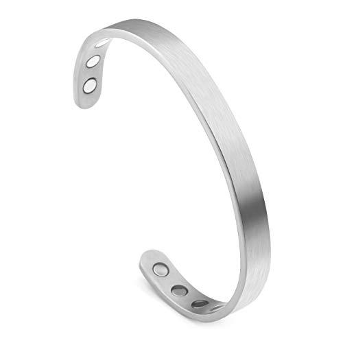 JOVIVI Armschmuck Damen Herren Offener Armreif aus Titan Partnerarmbänder Magnetarmband Minimalist Armband Pärchen Geschenke