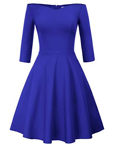 Swing Kleid Royalblau Retro Kleider 50er Jahre Festliche Kleider für Damen Knielang CL823-6 L
