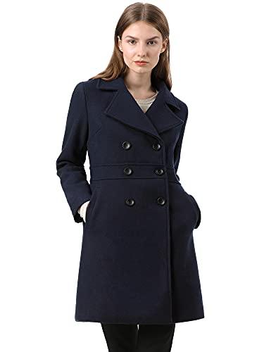 Allegra K Damen Langarm Button Revers Trenchcoat Mantel Dunkelblau S