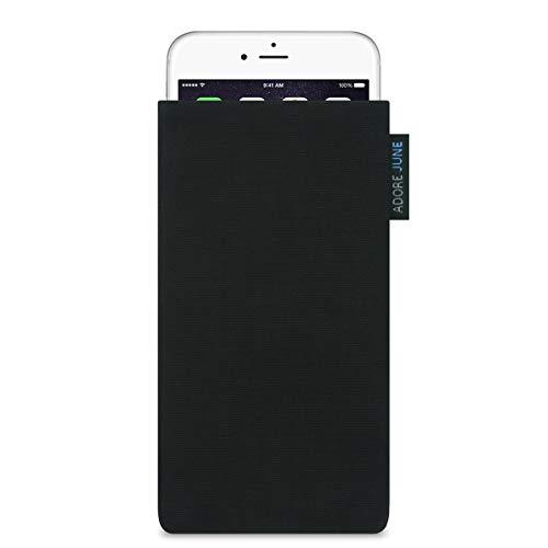 Adore June Classic Schwarz Tasche für Apple iPhone 7 / iPhone 6S / iPhone 6 Handytasche aus widerstandsfähigem Cordura Stoff | Robustes Zubehör mit Display Reinigungs-Effekt | Made in Europe