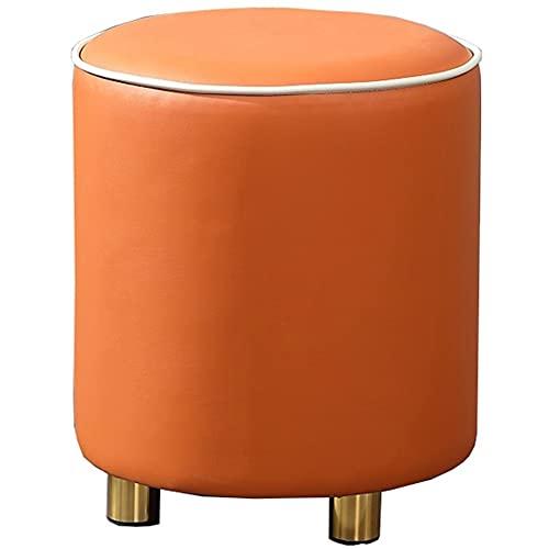 WHOJA Stequillo Tapizado Ottomano PU Taburete Redondo High Resilience Sponge Metal Pie 150kg Sala De Estar Dormitorio Asiento Extra 36x36x40cm Taburete Bajo De Salón(Color:Naranja)
