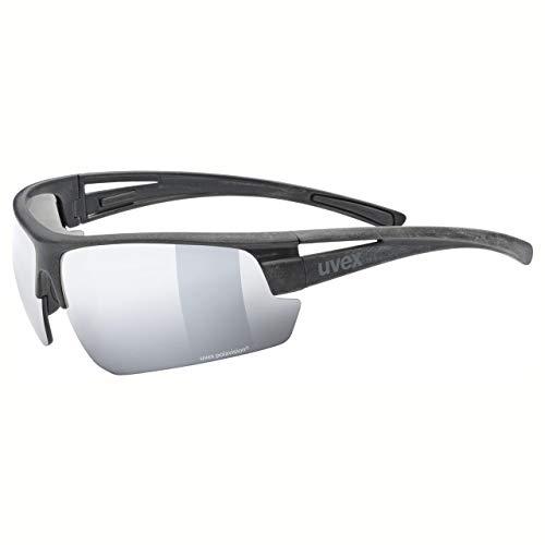 uvex Unisex– Erwachsene, sportstyle ocean P Sportbrille, polarisiert, black mat/black-silver, one size