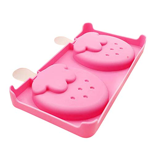 MULIN 2 Cell Strawberry Shapes Mini Ice Cream Mold, for Spring and Summer, Ideal for Making All Kinds of DIY ice Food, Lightweight & Durable Ice Popsicle Mold