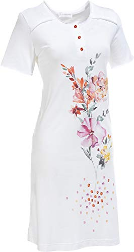 Hutschreuther Damen-Nachthemd Single-Jersey weiß/rosa Größe 42