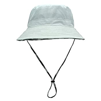 Womens White Bucket Sun Hat Detachable Chin Strap Quick Dry Water Resistant