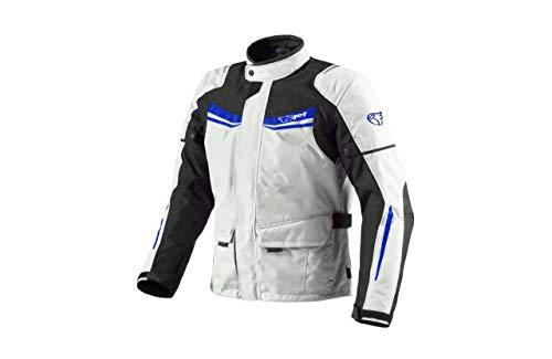 Jet Motorradjacke Herren Mit Protektoren Textil Wasserdicht Winddicht Aquatex (M (EU 48-50), Weiß Blau)