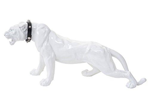 Mendler Deko Figur Leopard 59cm, Polyresin Skulptur Panther, In-/Outdoor ~ weiß Hochglanz mit Halsband
