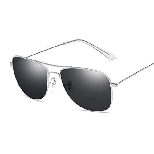Gafas De Sol Gafas De Sol Cuadradas Retro Hombres Mujeres Gafas De Sol con Parte Superior Plana para Hombres Conducir Deporte Al Aire Libre Gafas De Sol Hombre Mujer Vintage-Silvergray