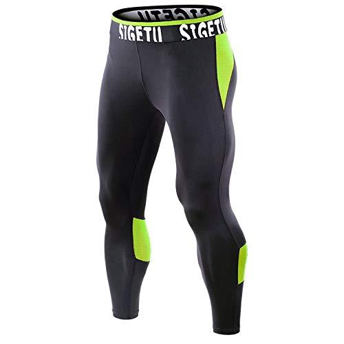 Tenue de Sport SIGETU Hommes Fitness séchage Rapide Stretch Pantalons Zys (Couleur : Black Green, Size : S)