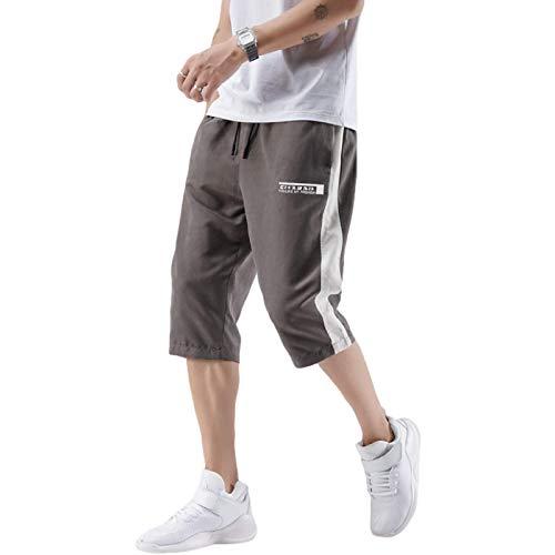 Katenyl Pantalones Cortos Deportivos para Hombre Tendencia con Costuras en la Cintura elástica Tendencia Fina y cómoda Pantalones Cortos Deportivos Informales relajados en Todos los Partidos L