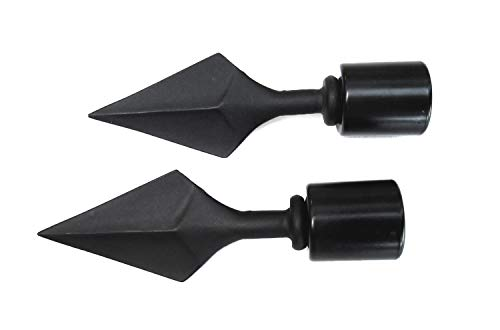 Endstück für Gardinenstangen mit Ø 20 mm, Spitze, schwarz, 2 Stück